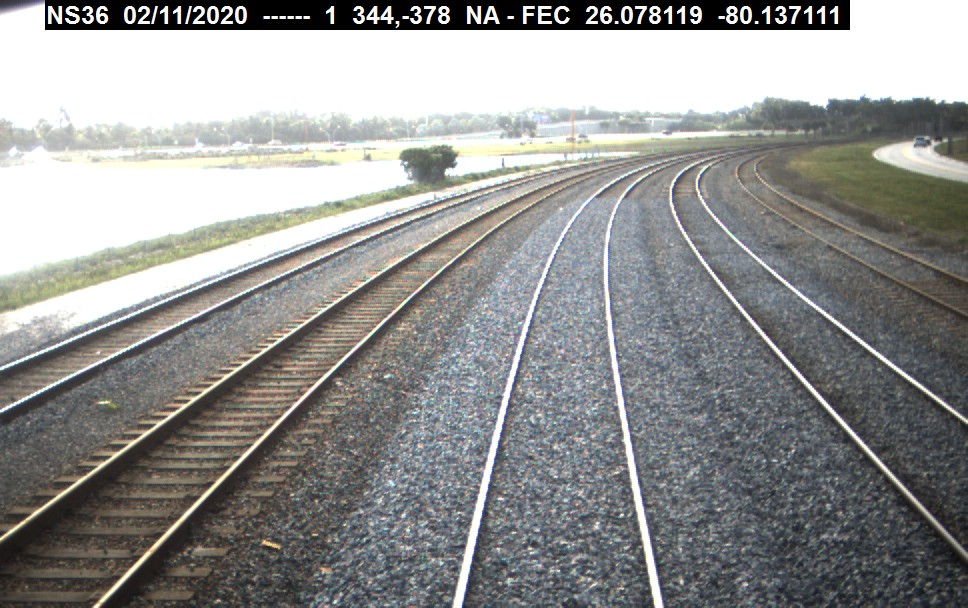 Forward-facing video frame of railroad track
