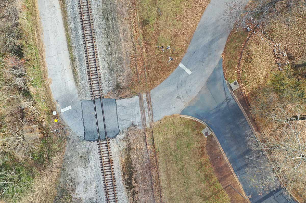 Drone image of railroad crossing